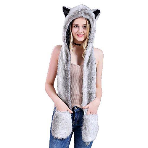DecoBay Unisex Winter Künstliche Pelzmütze Warme Shaggy Kapuzenhandschuhe Plüschtiere Tier Halloween Karneval Einhorn Cosplay Kostüm (Grau)