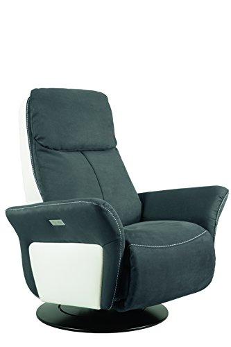 City Salon 3760272810406 Variance Fauteuil Pivotant Relax Electrique Microfibre/Cuir Titane/Blanc 89 x 169 x 112 cm