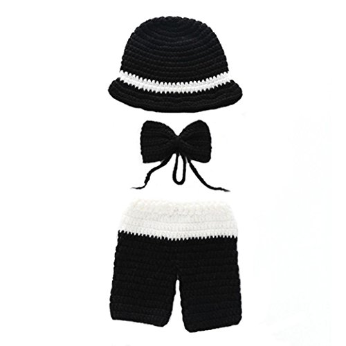 Ears Baby Infant Crochet Work Winter Knitted Hat Beanie Cap Neugeborenes Baby Stricken häkeln Kleidung Kostüm Foto Fotografie Requisiten Outfit Viking Hat Photo Photography Props Outfit (B)