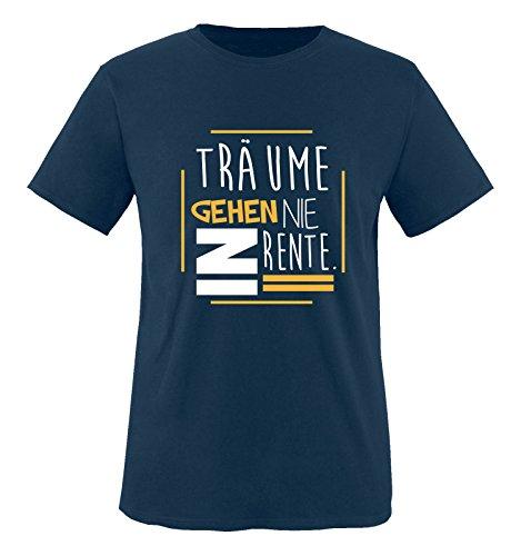 Comedy Shirts - Träume gehen nie in Rente. - Herren T-Shirt - Navy / Weiss-Gelb Gr. M (Träume Gestrickte Tank)