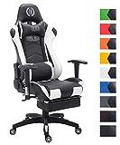 CLP Bürostuhl Relaxsessel TURBO, Kunstleder-Bezug, Fußablage ausziehbar, max. belastbar 150 kg, Gaming Stuhl schwarz/weiß