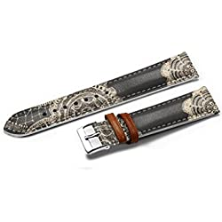 iCreat Women Genuine Leather Replacement Watch Strap Band 14mm - Gray Flower Pattern Elegant Duolei Si