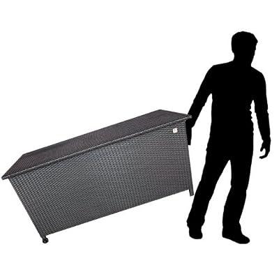 Garten Kissenbox Auflagenbox Gartentruhe Gartenbox Metall / Poly Rattan Auflagentruhe 133x65x55cm / Schwarz von Multistore 2002 - Du und dein Garten