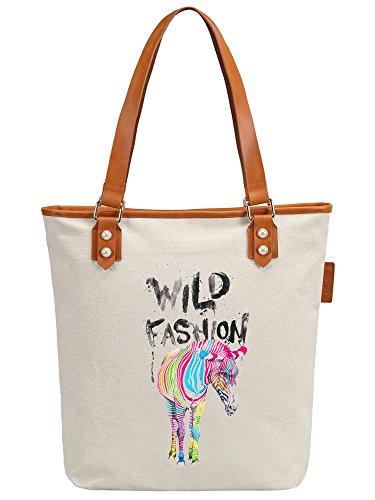 S.CHU Women's Art Zebra Canvas Leather Tote Handbag Ladies Shoulder Bag (Satchel Zebra-print Handtasche)