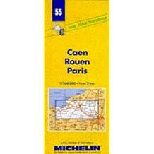 Carte routière : Caen - Rouen - Paris, 55, 1/200000