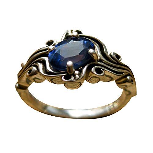 AchidistviQ Damen Vintage Kunstsaphir/Smaragd Schmuck Bankett Verlobungsring, blau, US 6