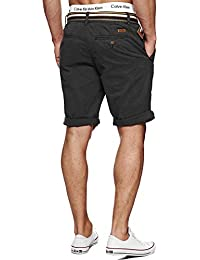 Indicode Herren Cuba Chino-Shorts Kurze Hose mit Gürtel aus 100% Baumwolle