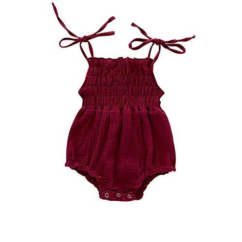 Kleidung Sommer,Pwtchenty Ärmellose Hosenträger Folding Strampler Overall Bodysuit Jumpsuit Strampler Bodysuit Säugling Spielanzug Schlafanzug Outfit ()