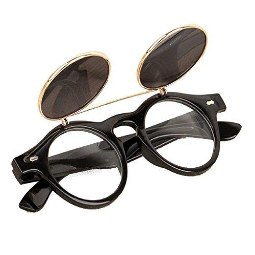 HLHN Herren Damen Steampunk Goth Goggles Gläser Vintage Retro Flip Up Runde Sonnenbrillen (Silber)