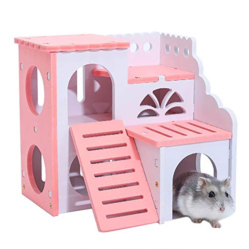 KEISL Hamster-Bett, Eichhörnchen, Vista Villa,Hamster-Haus aus aus Holz, Versteckter Heim Hut Rata Hideaway Spielzeug (Rosa) (Hamster Hideaway Käfig)