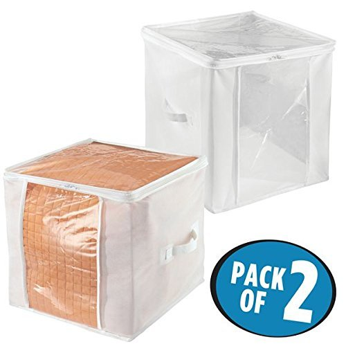 mDesign Juego de 2 bolsas para guardar ropa con cremallera – Guarda mantas cuadrado de polipropileno – Organizadores de armarios plegables para prendas y edredones – blanco/transparente