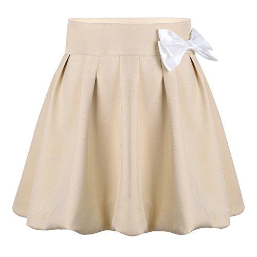 Tiaobug Mädchen Schule Uniform Plissiert Rock Minirock Skirt Mit Integrierter Hose Shorts Hosenrock/Skort Winddicht zur Einschulung 4-12 Jahre (Khaki, 116(Tailleumfang 56cm)) (Mädchen Schule Uniform Hose)
