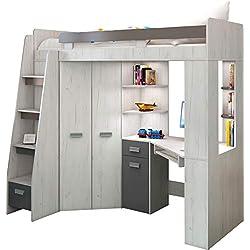 Lit Mezzanine / Lit superposé - TOUT EN UN. Escalier gauche - Ensemble pour enfants. Lit superposé, bureau, armoire, étagères - Artisanat Blanc / Graphite