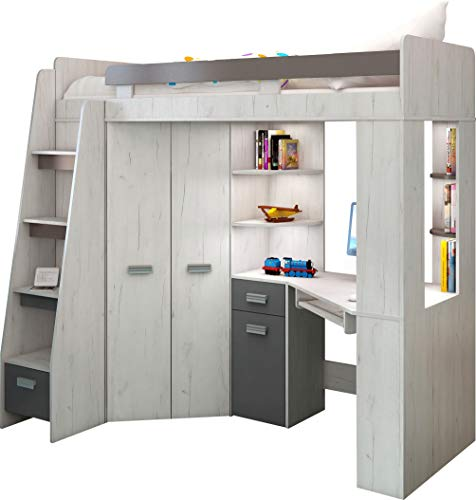 Hochbett/Etagenbett mit Treppe rechts oder links, alles-in-einem-Möbel-Set für Kinder mit Bett, Kleiderschrank, Regal und Schreibtisch