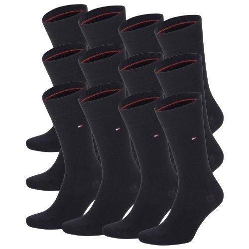 TOMMY HILFIGER Herren Classic Casual Business Socken 12er Pack (js), Schwarz, 39/42