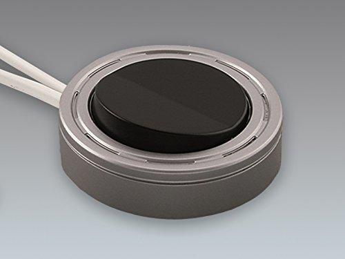 Elektra, On/Off Lichtschalter, Möbel, Furniture Light Switch, 220-240V; 2.5A; Aluminium / Black; Surface and Recessed Instalaltion