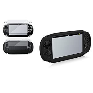Schwarz EVA Tasche case+Voll Tasche LCD Folie f�r Sony Playstation PS Vita PSV