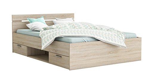 Funktionsbett 140*200 cm grau sonoma eiche inkl. 2 Bettschubkästen Kinderbett Jugendbett Jugendliege Bettliege Bett Kinderzimmer