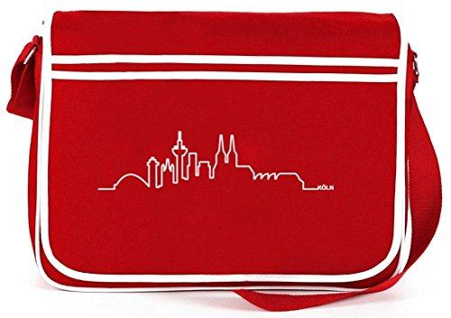 Skyline Köln, Kölle Cologne Karneval Retro Messenger Bag Kuriertasche Umhängetasche , Größe: onesize,Rot (Messenger Retro Bag Rote)