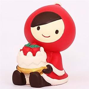 Figurine de Noël, Le Petit Chaperon Rouge avec un gâteau