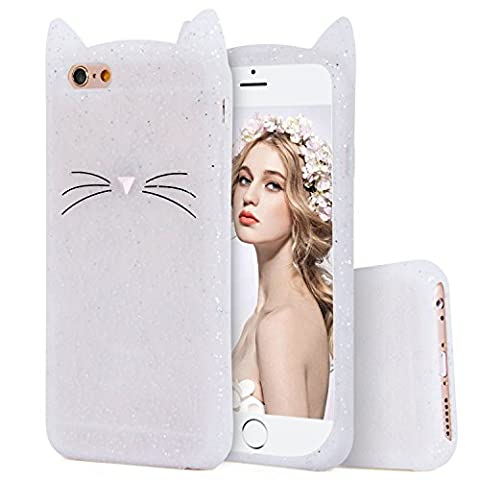 iPhone 7 Silicone Case,Imikoko™ Slim-Fit Anti-Scratch Shock Proof Soft Silicone Case With Cute Cat Pattern for iPhone 7 (4.7 inch) (White Glitter)