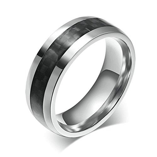 Beydodo Edelstahl Ring für Herren (Eheringe),Carbon Fiber Abgeschrägte Kanten Schwarz Silber Größe 54 (17.2)
