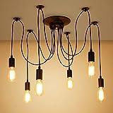 SISVIV Lampadario Vintage Industriale Lampada a Sospensione Lampada per Soffitto Ragno con 6 Bracci Cucina Sala da Pranzo Soggiorno Bar
