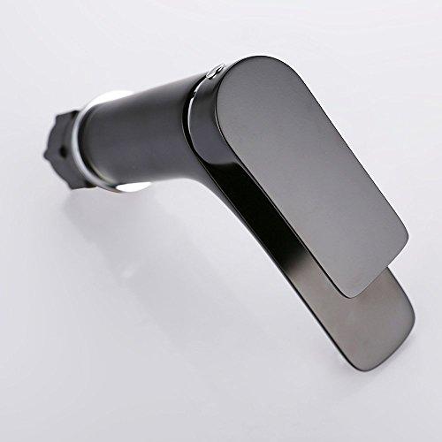 Homelody – Waschtisch-Einhebelmischer, ohne Ablaufgarnitur, Luftsprudler, Keramikkartusche, Schwarz - 6