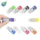 10 Pezzi 32GB Chiavetta ENUODA Pennetta Girevole USB 2.0 Unità Memoria Flash (10 Multicolorato)