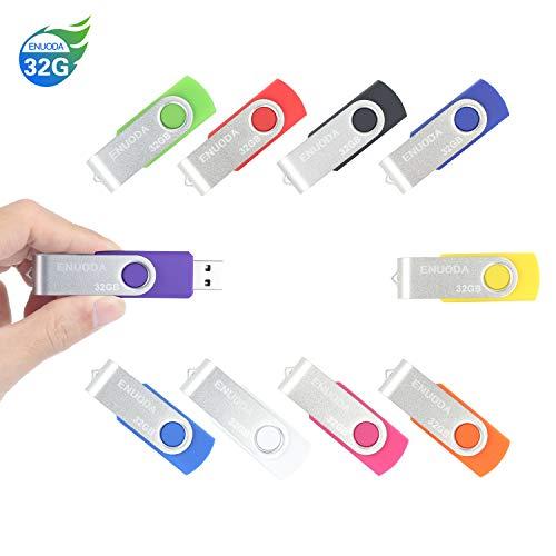 10 Stück 32GB USB Stick ENUODA Speicherstick Rotate Metall High Speed USB 2.0 Flash Drive Pack(Mehrfarbig) -