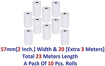CASH TRON Thermal Paper Rolls 57mm (Width) X 20 Mtrs (Length), Pack Of 10 Pcs. Rolls