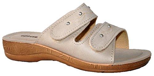 beige 395 EU Gezer Pantofole da donna con punta aperta ciabatte tipo k7m