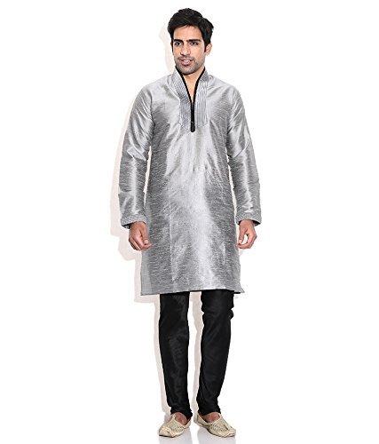 Royal Kurta Men' s Designer S Silk Blend hineck Kurta Churi Daar Set argento 44