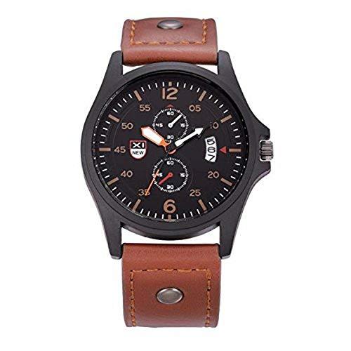 Herren Armbanduhr FGHYH Neutrale einfache Mode Leder Quarz-Armbanduhr Unisex Analog Alloy Beobachten(A-18)