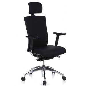 hjh OFFICE 657504 silla ejecutiva ASTRA LUX malla / tela marrón gris / negro con reposacabezas soporte lumbar silla ergonomica con ruedas