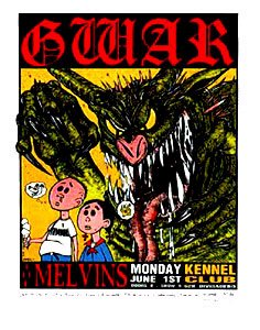 Gwar 1/06/92Edizione Limitata Silkscreen Musica Poster by Frank Kozik con originale firmato e numerato: Gwar, melvins