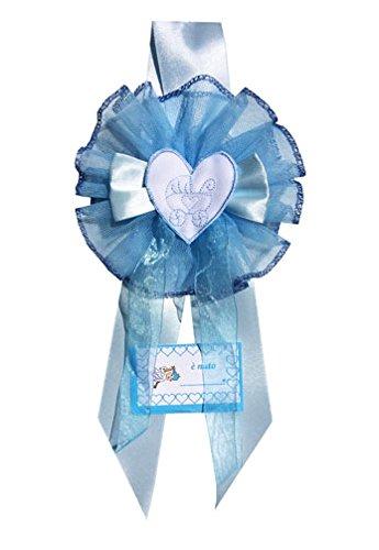 Fiocco nascita azzurro cuore carrozzina con ricamo