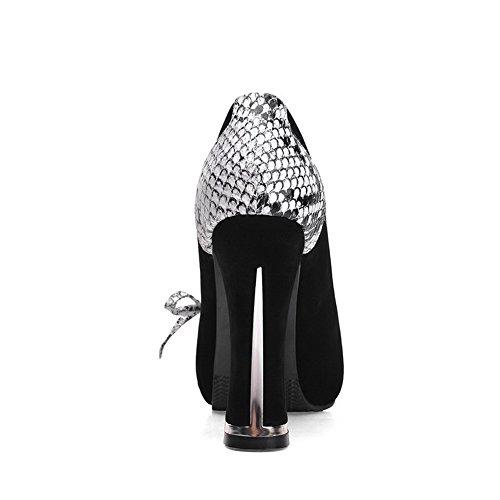 AgooLar Femme Couleurs Mélangées Matière Mélangee à Talon Haut Rond Tire Chaussures Légeres Noir