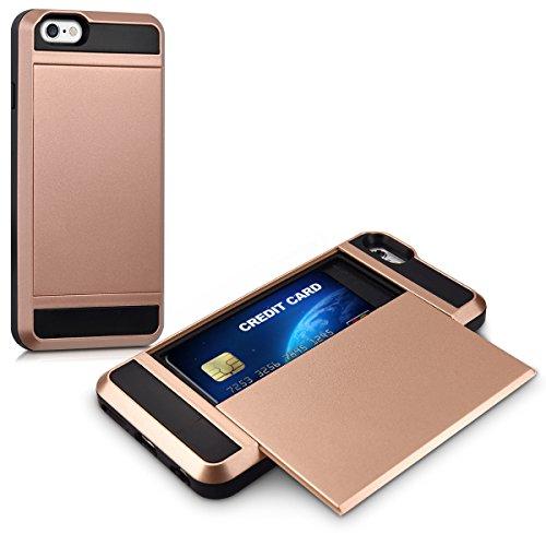 kwmobile Hülle für Apple iPhone 6 / 6S - Hybridhülle Dual Case Handy Schutzhülle TPU Silikon - Hybrid Cover Hybrid Metallic Design Metallic Rosegold Schwarz .Rosegold