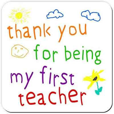 Thank You For Being My First teacher - Drinks Coaster - Great end of term or Christmas present idea for your Teacher. Makes a useful and unusual thank you gift!