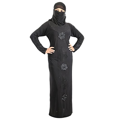 Hawai Net Embroidery Black Burqa