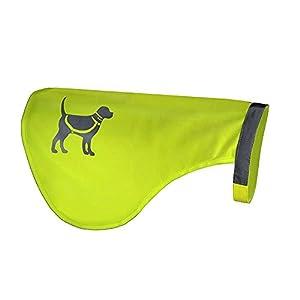 HQRP Vestegilet de sécurité pour chien jaune réfléchissant pour la protection d'animaux de la route ou accidents de chasse dangereuses