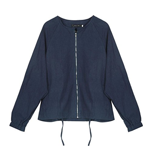 Giacca donna, FEITONG manica lunga casual outwear cappotto top (XL, Blu scuro)