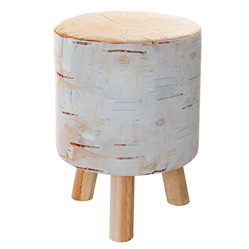 Stylischer Sitzhocker BIRCH 45 cm gepolstert Baumstamm-Optik mit Holzbeinen Polsterhocker mit Stoffbezug Fußhocker Motiv Druck