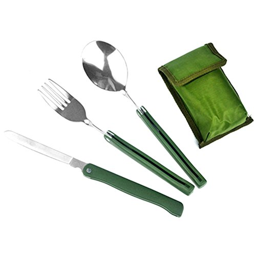 Hrph 3 Pcs/set Stainless Steel Army Green Folding Cutlery Fork Set with Pouch Cooking Survival Picnic Tableware