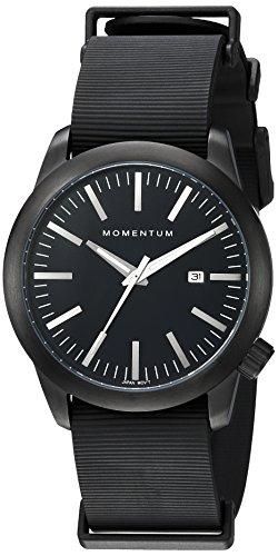 Momentum - Reloj de cuarzo para hombre de acero inoxidable y goma, Color negro (modelo: 1M-SP14B11B)