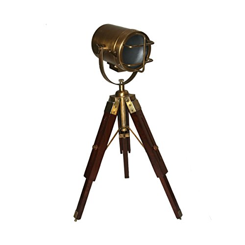 Tripod Table Lamp with Brass finished headlight