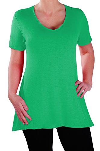 Eyecatch - Delphine Col En V Aux Femmes Plus Taille Tops Manche Courte Décontractée Dames Long Évasée T-Shirt Tunique Tops Jade Vert