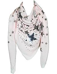 Mevina Damen XXL Schal Glitzer Stern Feder Glitzersteine groß quadratisch Baumwolle Tuch Schal Halstuch groß Oversized Premium Qualität