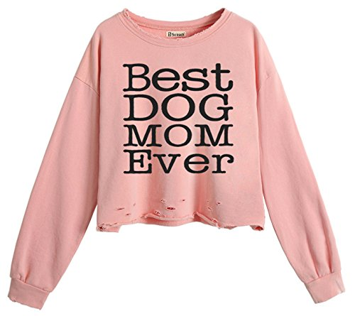 Shark Kinder Sweatshirt (So'each Women's Best Dog Mom Crop Tops Hole Casual Pullover Sweatshirt)
